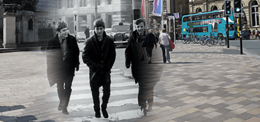 John Lennon, George Harrison, and Ringo Starr crossing Derby Square in Liverpool City Centre
