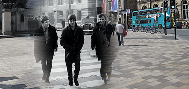 John Lennon, George Harrison, and Ringo Starr crossing Derby Square in Liverpool City Centre